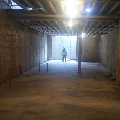 basement construction structural steel alterations
